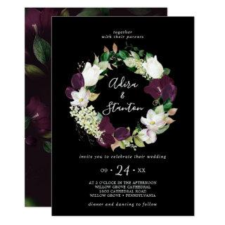 Moody Purple Blooms | Black Wreath Wedding Invitation