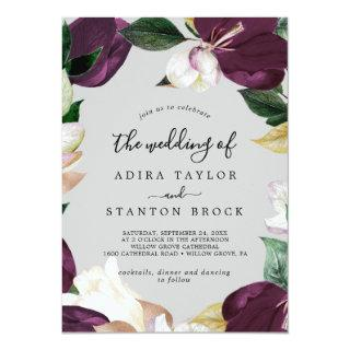 Moody Purple Blooms | Gray The Wedding Of Invitation