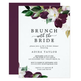Moody Purple Brunch with the Bride Bridal Shower Invitations