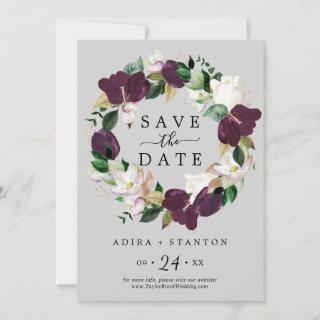 Moody Purple Gray Save the Date Announcement Card