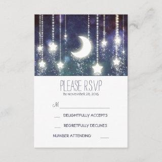 moon stars and string of lights wedding RSVP cards