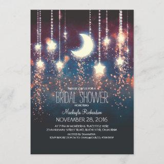 Moon Stars & String Lights Bridal Shower Invitation