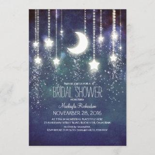 Moon Stars & String Lights Bridal Shower Invitations