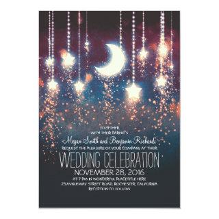 Moon Stars & String Lights Summer Wedding Invitation