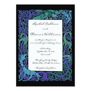 Moonlight Blue Celtic Animals Wedding Invitations