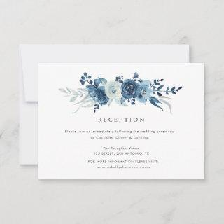 moonlight blue floral wedding reception card