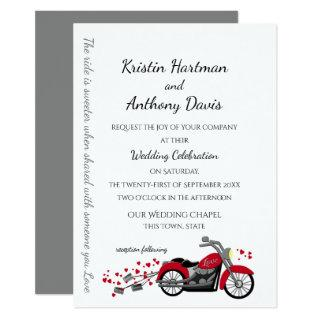 Motorcycle and Hearts Wedding Invitations
