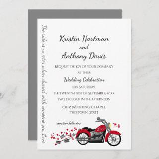 Motorcycle and Hearts Wedding Invitation