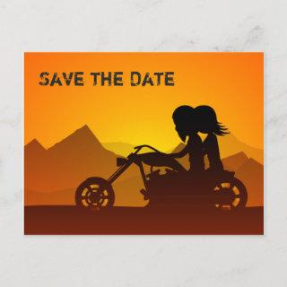 Motorcycle and Mountains Wedding Save the Date Announcement Postcard