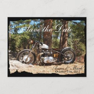 Motorcycle Biker Save the Date Postcard