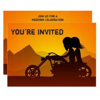 Motorcycle Couple and Mountains Sunset Wedding Invitations