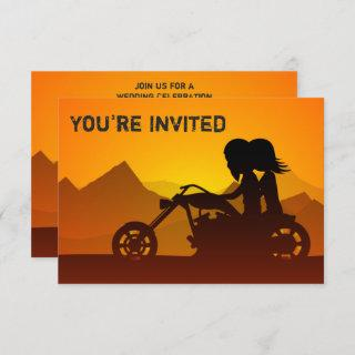 Motorcycle Couple and Mountains Sunset Wedding Invitation