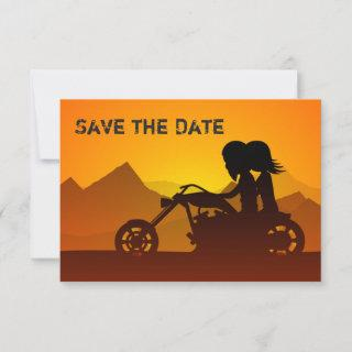 Motorcycle Couple, Mountains and Sunset Wedding Save The Date