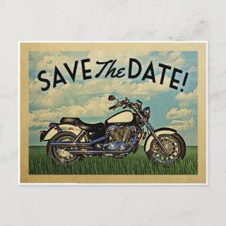 Motorcycle Save The Date Vintage Biker Wedding Announcement Postcard