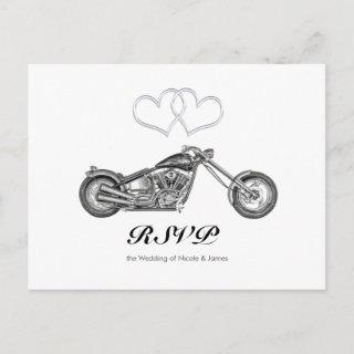 Motorcycle & Silver Hearts Biker Wedding RSVP Invitations Postcard
