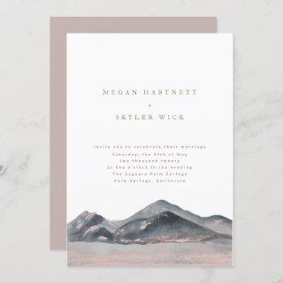 Mountain Desert Watercolour Wedding Invitations