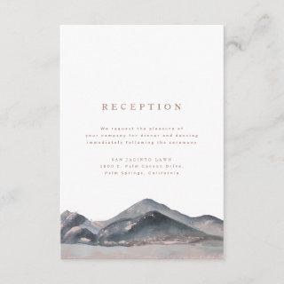 Mountain Desert Watercolour Wedding Reception Enclosure Card