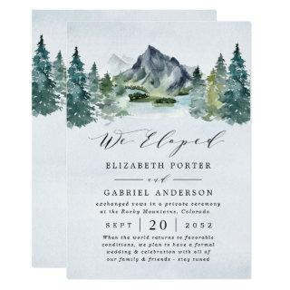 Mountain Evergreen Rustic Trees Wedding Elopement Invitations