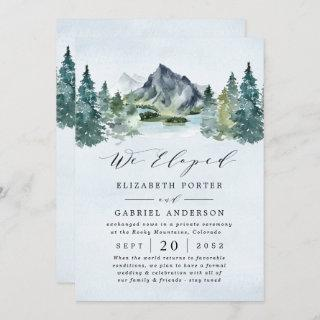 Mountain Evergreen Rustic Trees Wedding Elopement Invitation