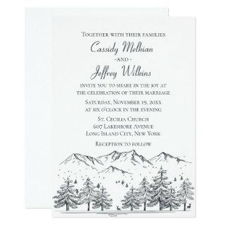 Mountain Forest Wedding Black White Country Rustic Invitations