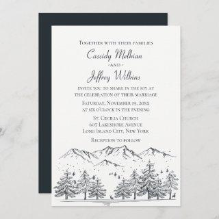 Mountain Forest Wedding Black White Country Rustic Invitation