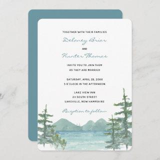 Mountain Lake Theme Watercolor Wedding Invitations