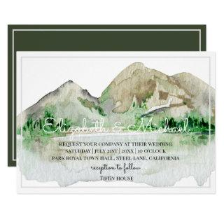 Mountain Lake Wedding Invitations Watercolor