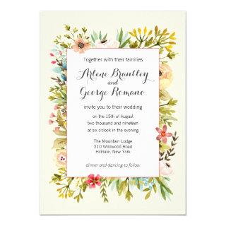 Mountain Meadow Watercolor Wildflowers Wedding Invitations