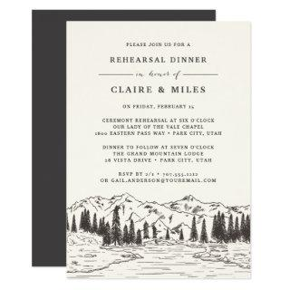 Mountain Sketch Rehearsal Dinner Invitations