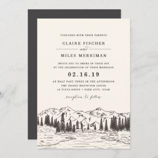 Mountain Sketch Wedding Invitations