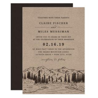Mountain Sketch Wedding Invitation | Kraft