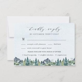 Mountain Watercolor Elegant Meal Choice Wedding RSVP Card