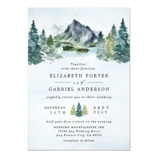 Mountain Watercolor Elegant Rustic Themed Wedding Invitations