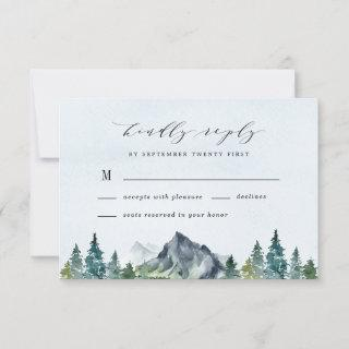 Mountain Watercolor Elegant Rustic Themed Wedding RSVP Card