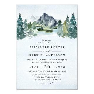 Mountain Watercolor Evergreen Rustic Tree Wedding Invitations