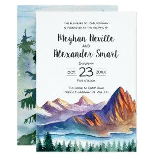 Mountain Wedding Invitations with water and pines