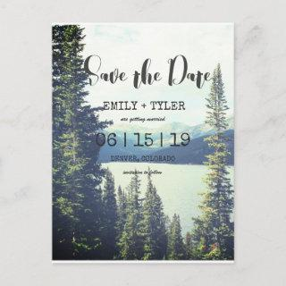 Mountain Woodland Forest Lakeside Save The Date Announcement Postcard