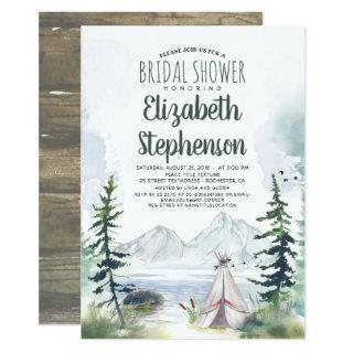 Mountains Adventure Boho Rustic Bridal Shower Invitations