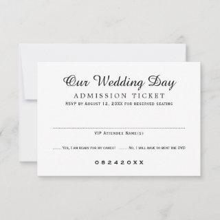Movie Ticket Admission Black and White Wedding RSVP Card