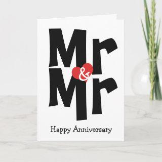 Mr and Mr Gay Wedding Black White Anniversary Card