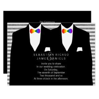 Mr and Mr Suit and Rainbow Bow Tie Gay Wedding Invitation