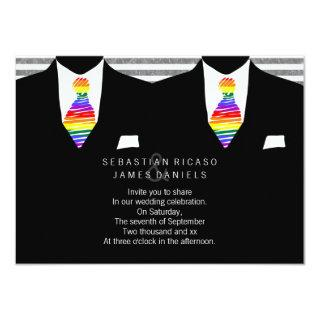 Mr and Mr Suit and Rainbow Tie Gay Wedding Invitation