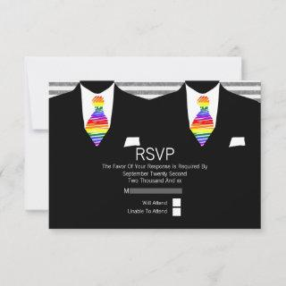 Mr and Mr Suit and Rainbow Tie Gay Wedding RSVP