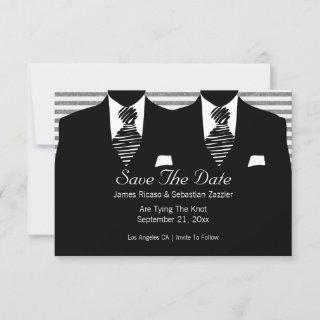 Mr and Mr Suit and Tie Gay Save The Date Wedding
