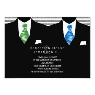 Mr and Mr Suit and Tie Gay Wedding Invitations