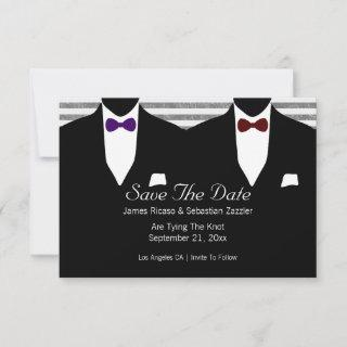 Mr and Mr Suit Bow Tie Gay Save The Date Wedding