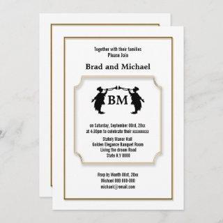 Mr and Mr Trumpeter blowing gold white formal chic Invitation