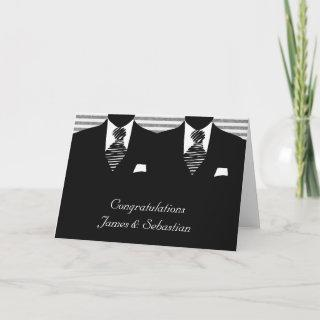 Mr and Mr Two Grooms Wedding Congratulations Card