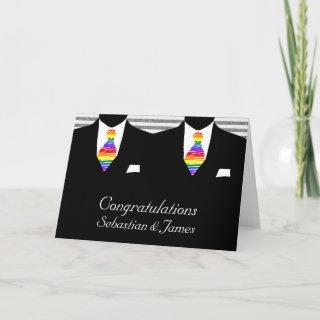 Mr and Mr. Two Grooms Wedding Congratulations Card