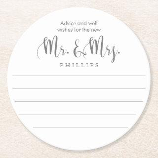 Mr. and Mrs. Advice Wedding Round Paper Coaster